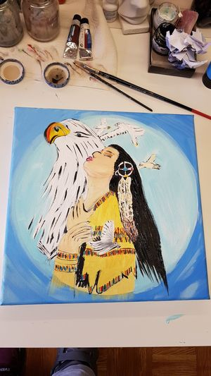 Art Selfmade Indianer Weißkopfseeadler Krafttier Love Stillmoments Happy Watercolor Painting