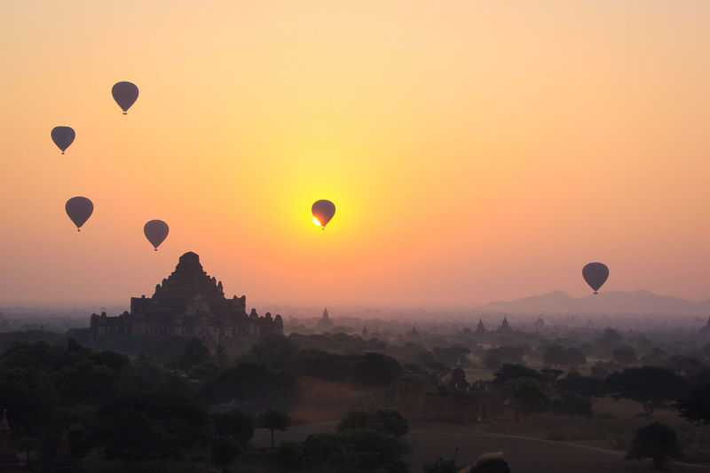 Hot Air Balloon Pagoda Travel Travel Destinations Sunset Bagan Myanmar Burma balloons over bagan