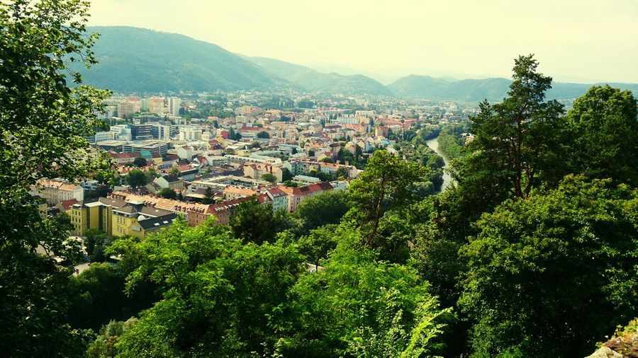 View of Graz city, Austria Mountain Building Exterior Day Cityscape Residential Building Outdoors No People Architecture City Sky Tree Nature Lost In The Landscape Been There.