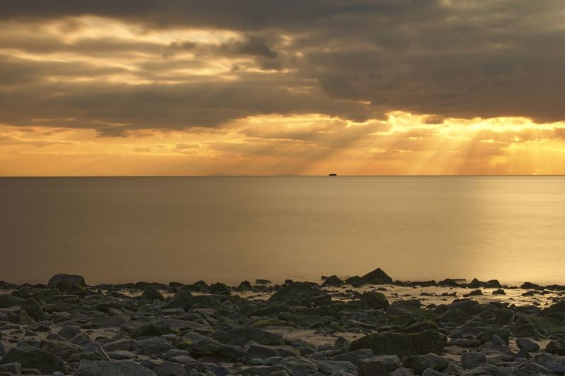Sun Rays Long Exposure Sea Sky Water Tranquil Scene Tranquility Beauty In Nature Scenics Sunset Cloud - Sky Horizon Over Water Idyllic No People Outdoors Beach Scenery Day