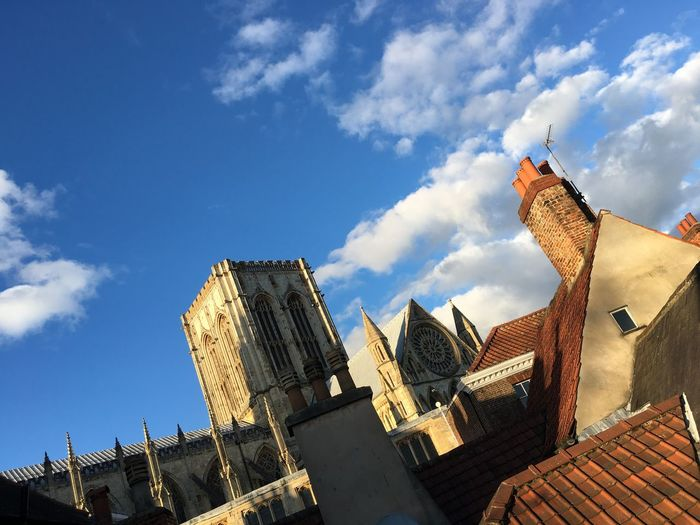 York Minster  Rooftops Rooftop View  Cathedral Rose Window Church Tower Chimney Tops