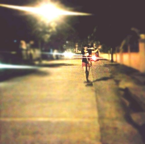 Justgothome, Longboarding at night. keep Smiling . Yikes!