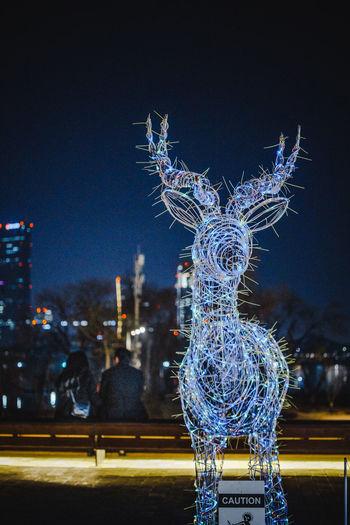 Close-up of illuminated sculpture against building at night