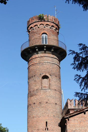 Architecture Blue Built Structure Clear Sky Day Growth High Section Low Angle View Nature No People Outdoors Sky Tall Tall - High Tower - at Parco Di Monza Italy