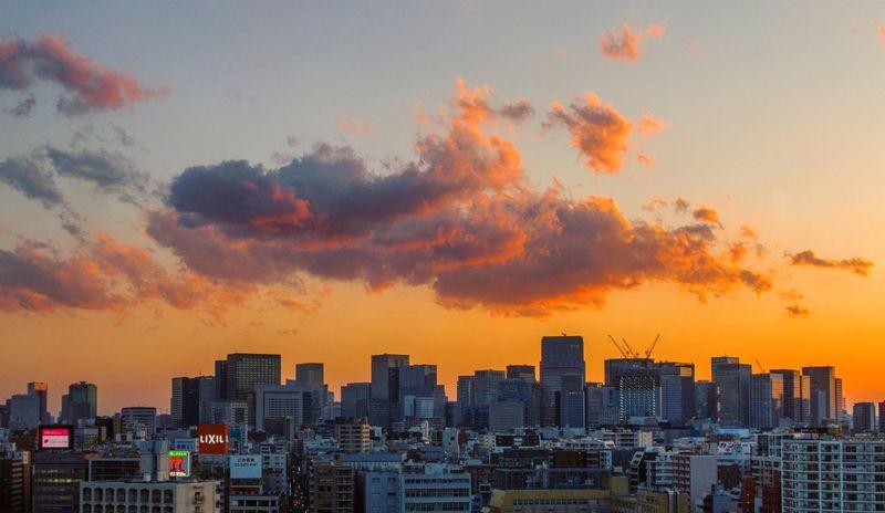 Tokyo Tokyo,Japan Architecture Building Building Exterior Built Structure City Cityscape Cloud - Sky Financial District  Landscape Modern Nature No People Office Building Exterior Orange Color Outdoors Residential District Romantic Sky Settlement Sky Skyscraper Sunset Tall - High Urban Skyline