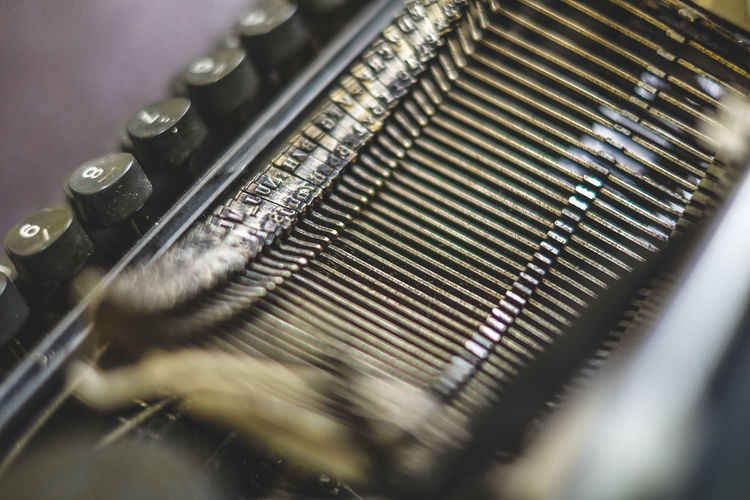 Close-up of typewriter on table