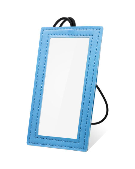 Leather hanging tag isolated on white background. Blue leather tag for your design. ( Clipping path ) Business Contact Us Hanging Isolated Labels Nametag Rope String Address Blank Blue Contact Copy Space Cut Out Label Material Name Name Card Name Tag Paper Phone Tag Texture White Background White Color