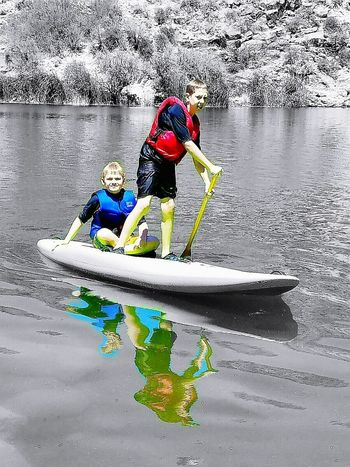 Stand Up Paddleboard boys Water Two People Challenge Sport Day Nautical Vessel Togetherness Extreme Sports Outdoors Adventure Oar Kayak Sports Clothing Nature Real People