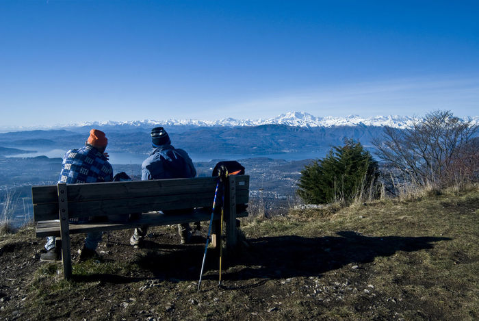Alps Clear Sky Forte Di Orino Friendship Full Length Mountain Outdoors Sitting Sky Two People Varese Winter
