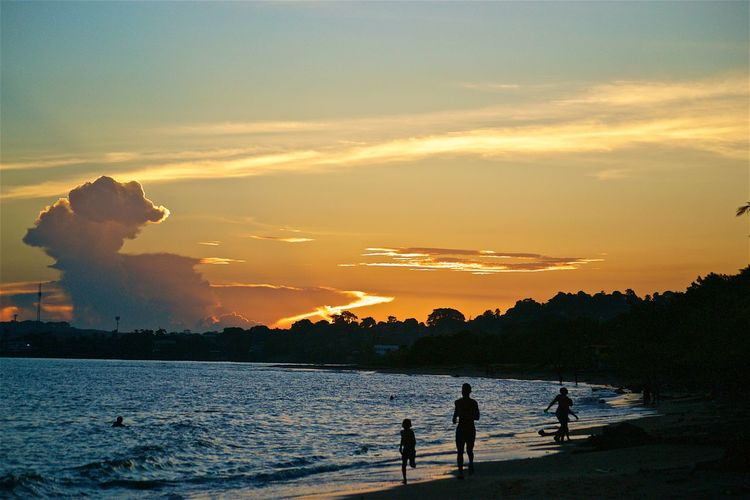 sunset @veracruz Beach Beauty In Nature Boys Cloud - Sky Leisure Activity Lifestyles Men Nature Nautical Vessel Orange Color Outdoors Real People Scenics Sea Silhouette Sky Standing Sunset Togetherness Tranquil Scene Tranquility Tree Two People Vacations Water