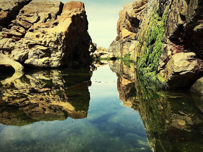 Reflection Water Waterfront Tranquility Standing Water Canal Narrow Tranquil Scene Day Sky Scenics Cloud - Sky The Magic Mission No People Rock Formation Beauty In Nature Playa De Los Cristales Galifornia Galicia IPhone 6s My Favorite Place Perspectives On Nature