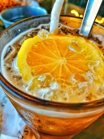 Freshness Lemon Iced Lemon Tea Cafe Cold Tea Glass Straw Refreshment Drink Food And Drink No People Indoors  Close-up Freshness Day Drinking Glass