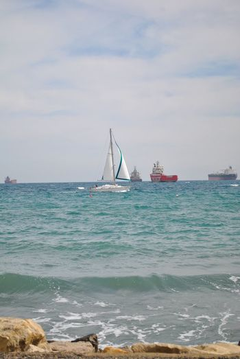 sailboat ⛵️ Limassol Limassol Cyprus Sea Water Nautical Vessel Transportation Sky Mode Of Transportation Cloud - Sky No People Beauty In Nature Land Sailboat Sailing Ship Motion Nature Scenics - Nature Beach Travel Outdoors Day