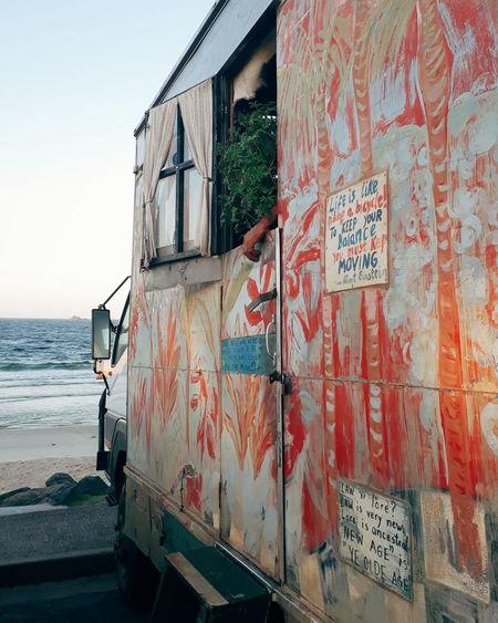 Alternative Lifestyle Art Beach Campervan Car Hippie Hippielife Lifestyles Mode Of Transportation Outdoors Sea Sky Transportation Water