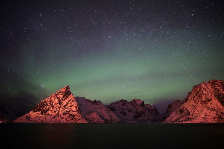 Taste of Norway in February Astronomy Aurora Aurora Borealis Beauty In Nature Constellation Fjord Galaxy Landscape Landscape_Collection Mountain Nature Night Northern Lights NorthernLights Norway Outdoors Reine Scenics Sky Star - Space Winter The Great Outdoors - 2017 EyeEm Awards