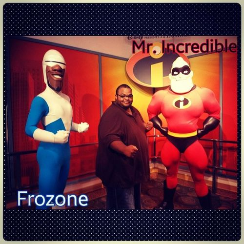 I'm just a big kid getting my picture taken with Frozone and MrIncredible from TheIncredibles Pixar  Disney DisneyWorld Hollywoodstudios