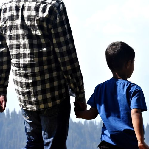 family Fathersday People Blue Checked Pattern Family Emotions Stroll Hike Nikon NikonD3400 Love Child Males  Childhood Men Boys Bonding Togetherness Father Love Rear View Family Bonds Parent The Traveler - 2019 EyeEm Awards My Best Photo The Minimalist - 2019 EyeEm Awards