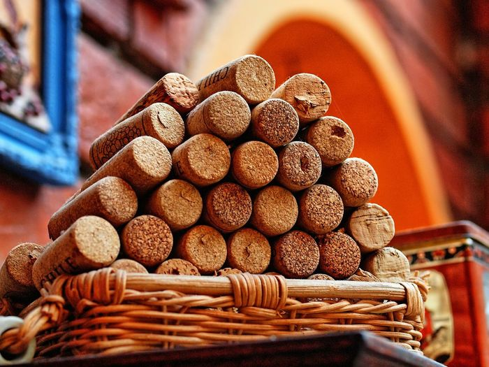 Low Angle View Of Wine Corks
