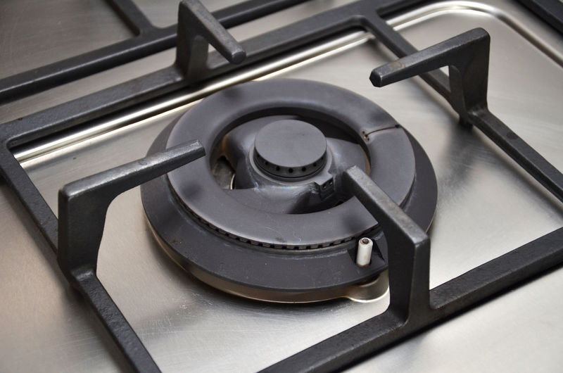 Gas stove burner in kitchen