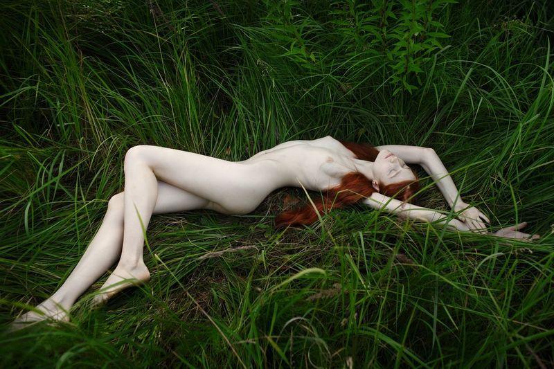 High Angle View Of Naked Woman Sleeping On Grass