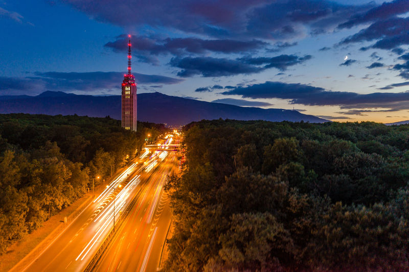 Long exposure with drone:) EyeEm Best Shots Mavic2pro Sofia, Bulgaria Airealphotography Architecture Built Structure Bulgaria Cloud - Sky Djimavic2pro Drone Photography Droneshot High Angle View Illuminated Light Trail Long Exposure Motion Nature Night No People Outdoors Road Sofia Tower Transportation Tree