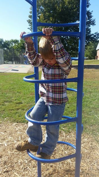 Boys 👫 Grandkids 💙💛💜 Summer Playing Family 🙏🙌 Missouri Ozarks, USA 💥💖 Fun💕 Full Length Outdoor Play Equipment Playground Sky Park - Man Made Space Preschooler One Boy Only Jungle Gym