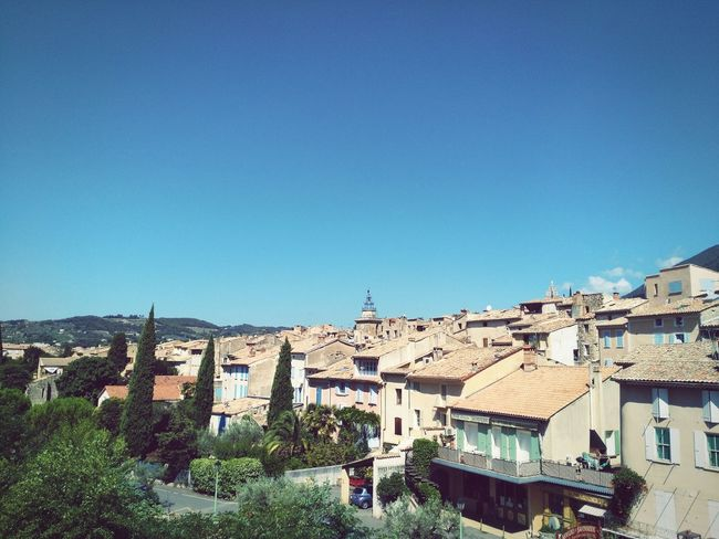 City Town TOWNSCAPE Houses Architecture Provence France Nyons Summer Nopeople Landscape Sky Noclouds Blue Sky Roof Rooftops Towerbell
