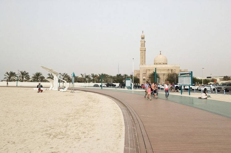 Jumeirah Beach. Dubai, UAE Architecture Beach Beach Life Built Structure Clear Sky Coast Coastline Dubai Emirates Jumeirah Jumeirahbeach Large Group Of People Mosque Palm Trees Real People Sand Sand & Sea Tourism Travel Travel Travel Destinations Travel Photography Traveling UAE Vacations