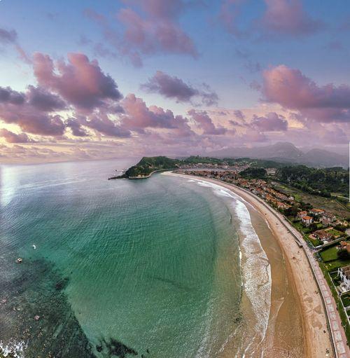 Aerial view of ribadesella and santa marina beach in asturias, spain.