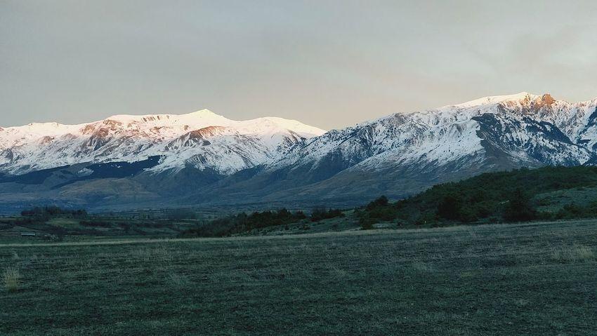 Sunset Light hits Gramozi ALBANIA❤️ Erseka Mountain Mountain Range Snow Winter Landscape Nature Snowcapped Mountain Scenics Cloud - Sky Outdoors Beauty In Nature Rural Scene