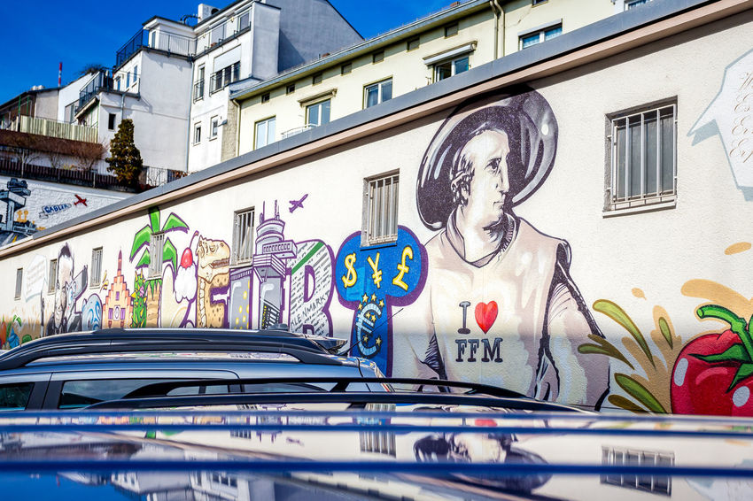 I Love FFM Frankfurt Graffiti I Love Frankfurt Architecture Art And Craft Building Exterior Built Structure City Close-up Creativity Day Goethe Graffiti Multi Colored No People Outdoors Streetphotography Text Window