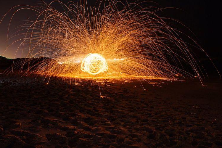 Check This Out Taking Photos Enjoying Life Night Fire Burning Lebanon EyeEm Gallery Beirut Beach Light Painting Photography. Light Painting Steel Wool