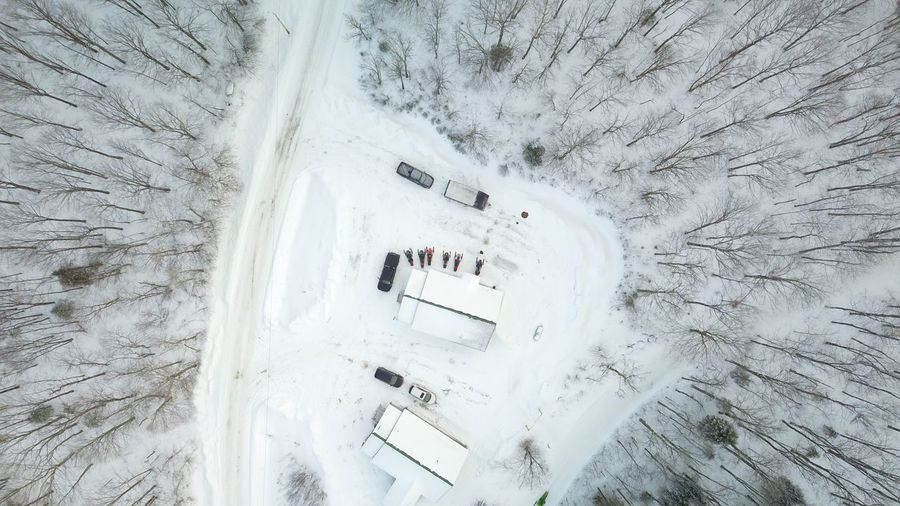 High angle view of snow on tree