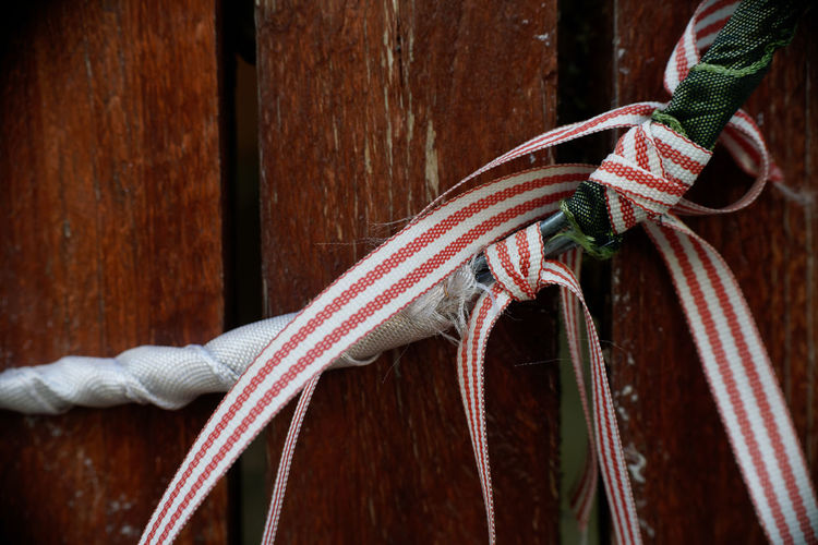 Close-up of tied up on wood