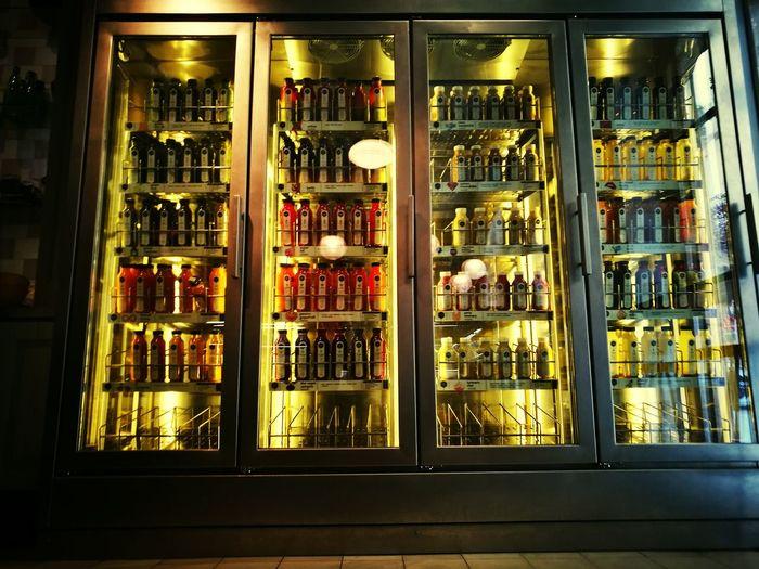 Interior of illuminated bottles