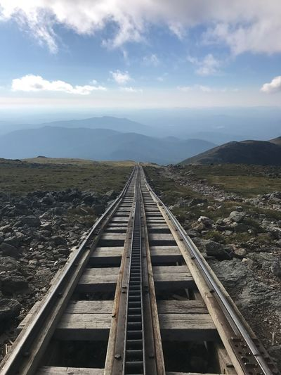 White Mountains Symmetry Tracks New Hampshire Mt Washington Train Tracks Sky Cloud - Sky Nature The Way Forward Day Diminishing Perspective No People