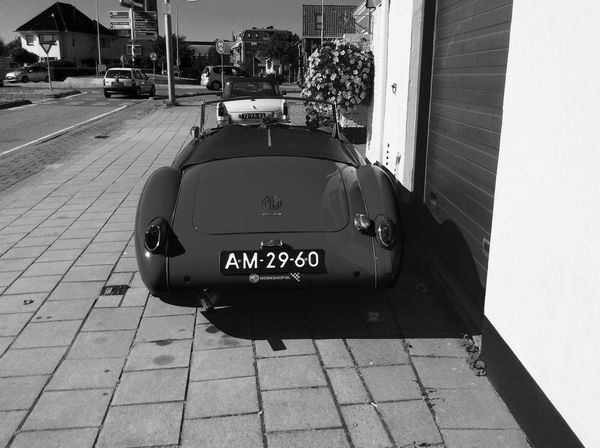 Car Made In Great Britain British DenHaag MG  Netherlands Monster Oldtimer Vintage Black & White