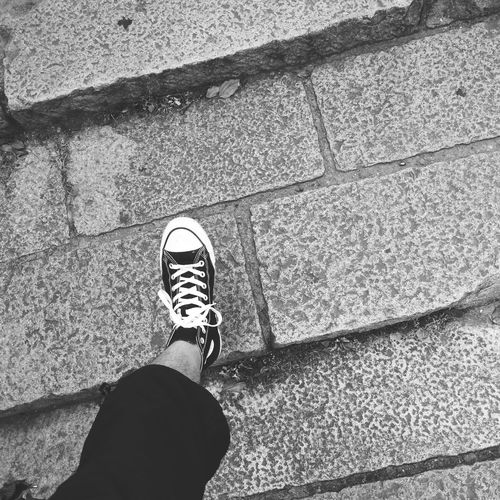 Shoe Low Section Standing Personal Perspective Leisure Activity Sidewalk High Angle View Canvas Shoe Black & White Capture The Moment Black & White Photography Bw_collection Blackandwhite Converse Converse Love Converse All Star Chuck Taylor Converseallstar Blackandwhite Photography Black&white