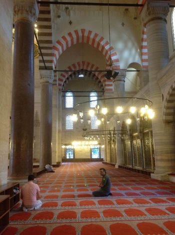 Worshippers at prayer ...doing namaz in the magnificent Sulemaniye Mosque in Istanbul Arches Architecture Built Structure Illuminated Istanbul Lighting Equipment Mosque Namaz Ottoman Sinan Sitting Sulemaniye Turkey Worship Worshiping God