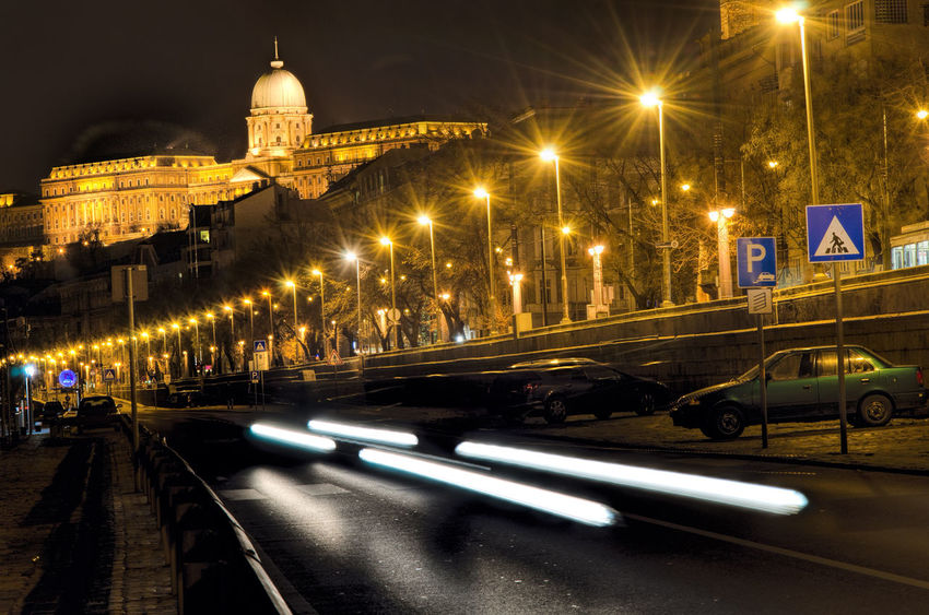 Car light trails on street in Budapest, Hungary Car Trails City Illuminated Night No People Outdoors Road Street Light Travel Destinations