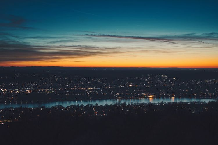 Sky City Cityscape Cloud - Sky Nature Architecture No People Sunset Night Landscape Outdoors Beauty In Nature Illuminated Aerial View River Germany