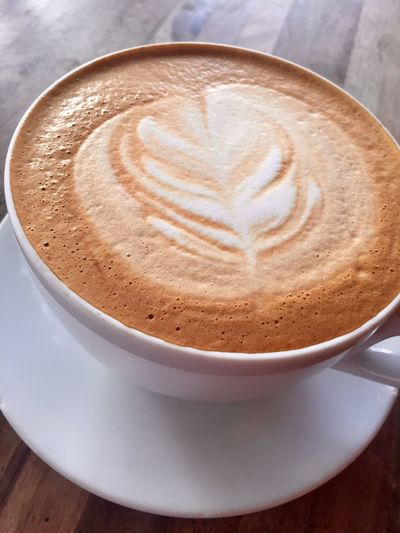 Heaven in a mug Food And Drink Latte Cup Saucer Table Close-up Heart Shape Freshness Indoors  No People High Angle View Mocha Cafe