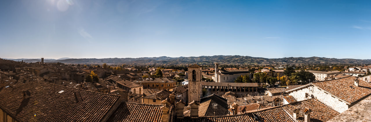 Panorama of Gubbio, Umbria, Italy Europe Gubbio Italia Italy Umbria Palace Outdoor Town Stone Brick Front Church House Belltower Panoramic Structure Roofing Bell Tourist Monument Exterior View Architecture Architectural Portal Village Roof Oldtown Romanesque Tourism Window Construction Historical Medieval Tile Wall Gothic Landmark Tower Arch Monumental  Century Historic Brickwall Residential  Perspective Ancient Building City Façade