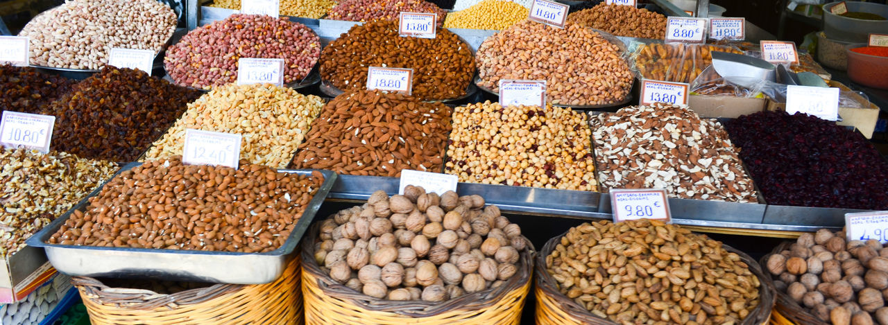 Various food for sale at market stall