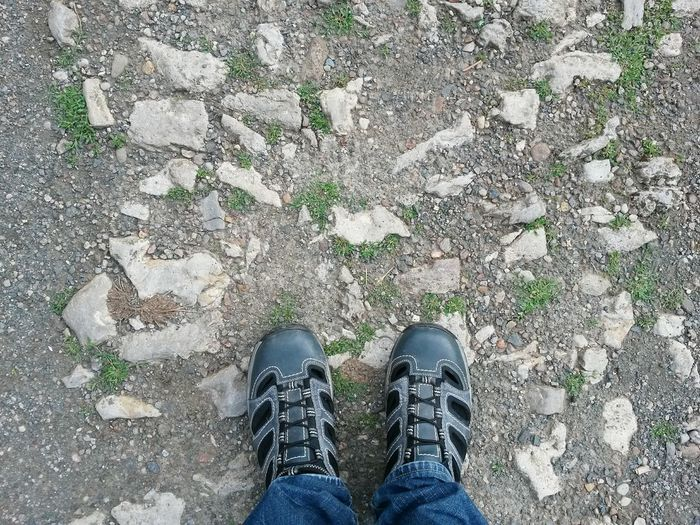 Shoe Standing Human Body Part Personal Perspective Outdoors Canvas Shoe One Person Shoes Shoeselfie Shoesporn Shoes For Today Way Rocky Path Rocky Pathway Steiniger Weg High Angle View Directly Above One Man Only Lifestyles Day Standstill No Walk For Me No Walking No Walk