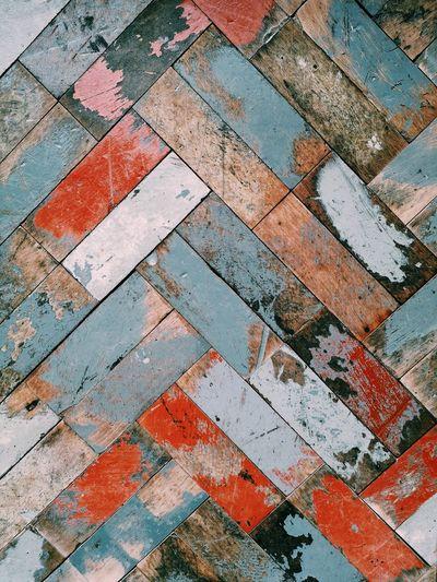 High angle view of brick wall on floor