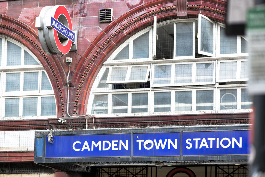 Camden Town Station underground sign, London Camden Town Entrance London Station Transportation Tube Underground Station  Architecture Building Capital Letter City Day Information Sign No People Red Sign Text Uk Window