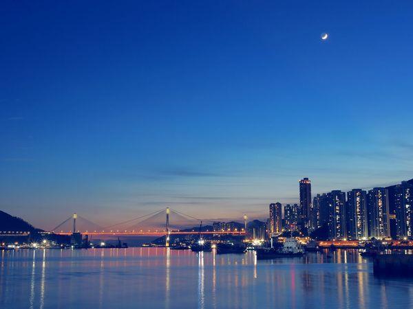 Ocean Sea And Sky Ocean Coastline Cities At Night Blue Sky Hong Kong City Nature's Diversities Bueaty In Nature