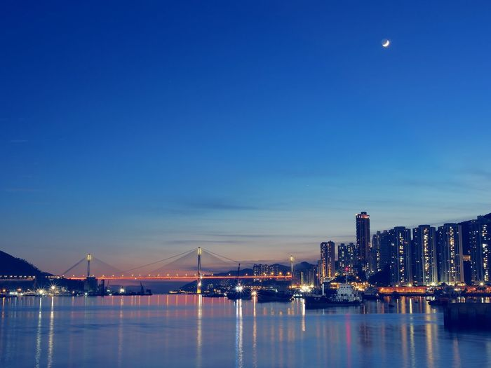 Ocean Sea And Sky Ocean Coastline Cities At Night Blue Sky Hong Kong City Nature's Diversities Bueaty In Nature