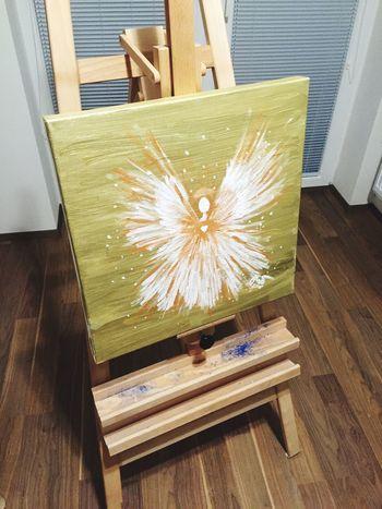 Andel , platno 50cm x 50cm, zlaty akryl